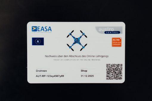 Drohnenführerschein Fernpiloten Kompetenznachweis Scheckkarte von Drohnenshop.at